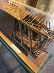 """Burfordville Covered Bridge: This cut-away 1/16"""" scale mode, made by JackSmoot and Arron Hendershott, illustrates the Howetruss technique used in the construction of the bridge."""
